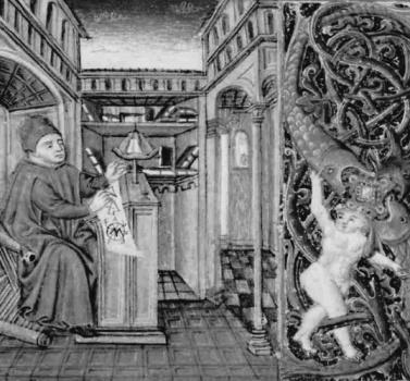 Starobylá miniatúra zobrazujúci, antického 'Archimeda ako stredovekého vedca. Vatikán, Biblioteca Apostolica Vaticana